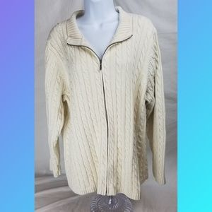 L.L. Bean Sweater White Cable Knit Cardigan Sz 3X